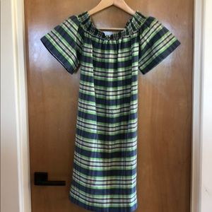 Jcrew plaid off the shoulder dress